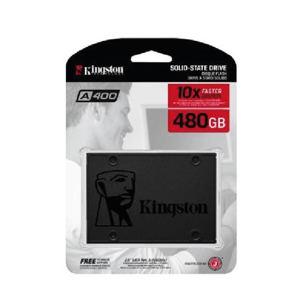 """Unidad de Estado Sólido Kingston A400 - 2.5"""" - 480GB - SATA 3 - Negro"""
